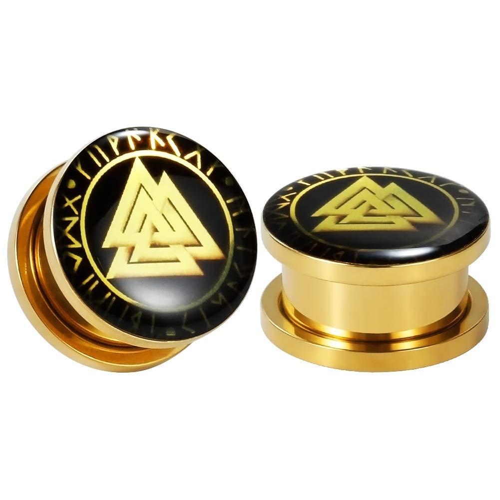 1-3//16 inch TBOSEN 8 Pcs Stainless Steel Gold Epoxy Screw Fit Ear Gauges Ear Plug Flesh Piercing Jewelry 2g