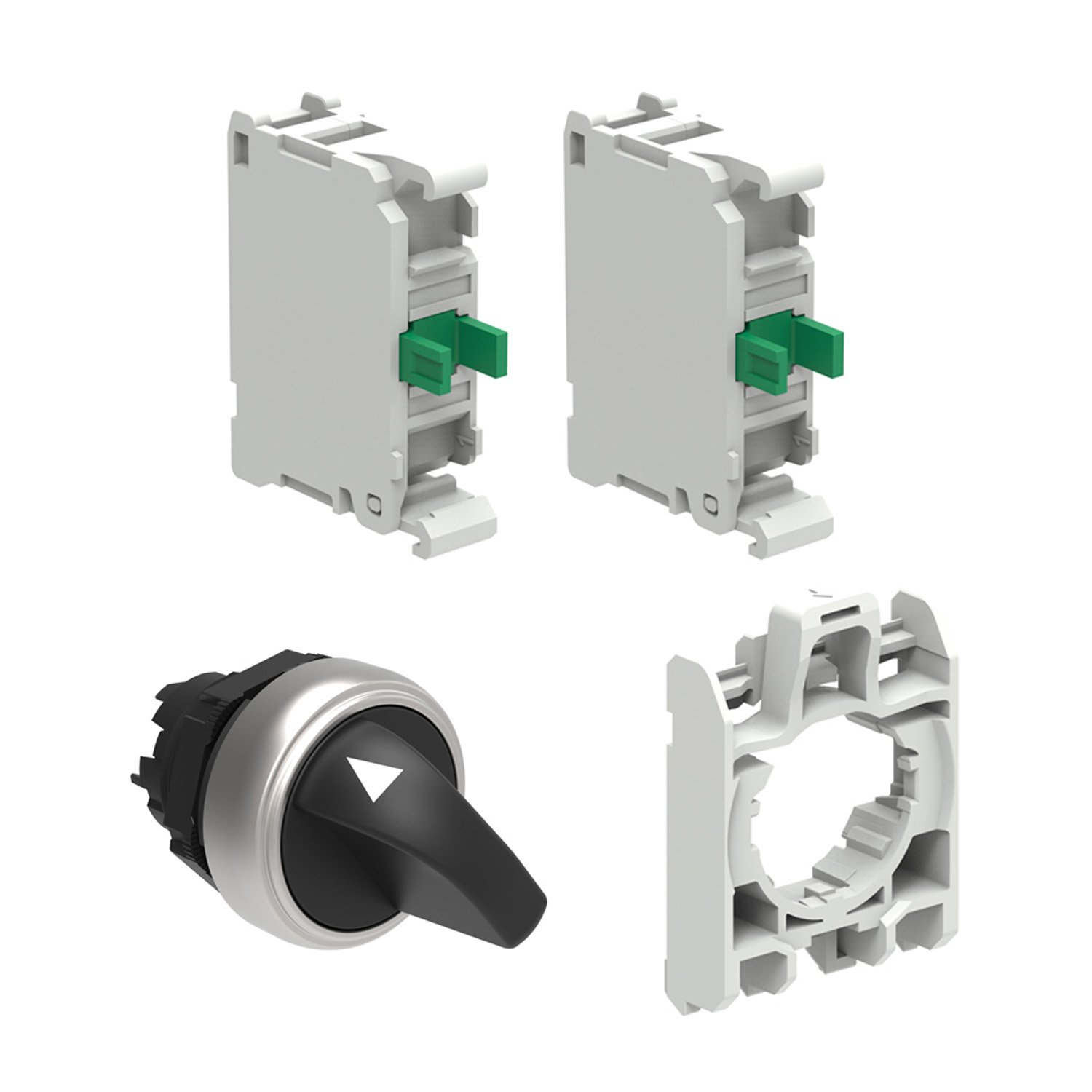 Black 2 No Contacts and 1 Contact Holder ASI LPCS130KIT 3 Position Switch Kit Includes 22 mm 3 Position Knob Actuator