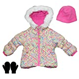 London Fog Toddler Girls Heavy Weight Winter Jacket, Hat, and Mittens Print 2T