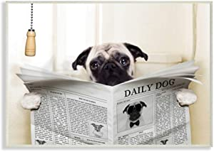 Stupell Industries Pug Reading Newspaper in Bathroom Wall Plaque Art, 10 x 0.5 x 15, Proudly Made in USA