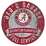 Alabama Crimson Tide Dad's Garage 12'' Circle Wooden Sign
