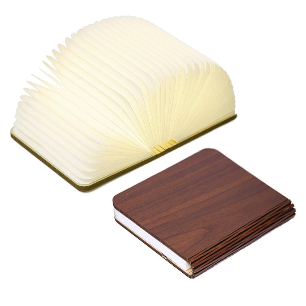 Innerest Night Light Wooden Book Folding Lamp Desk Table Home Décor Kids Bed Lighting (Maple Wood, Large)