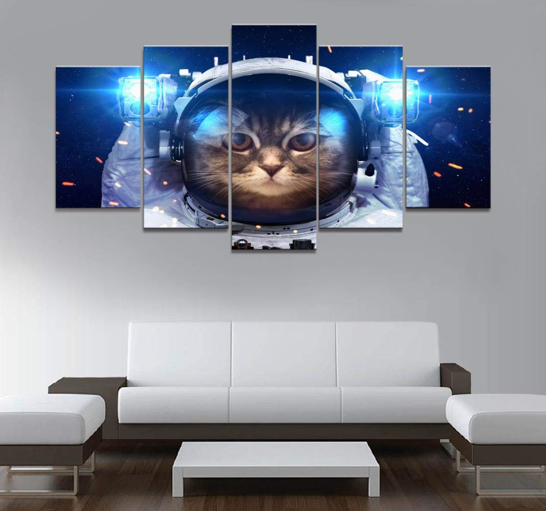 Canvas Paintings Home Decor Poster HD Pictures Prints Canvas 5 Piece Modular Astronaut Cat in Outer Space Living Room Decorative Painting Framed