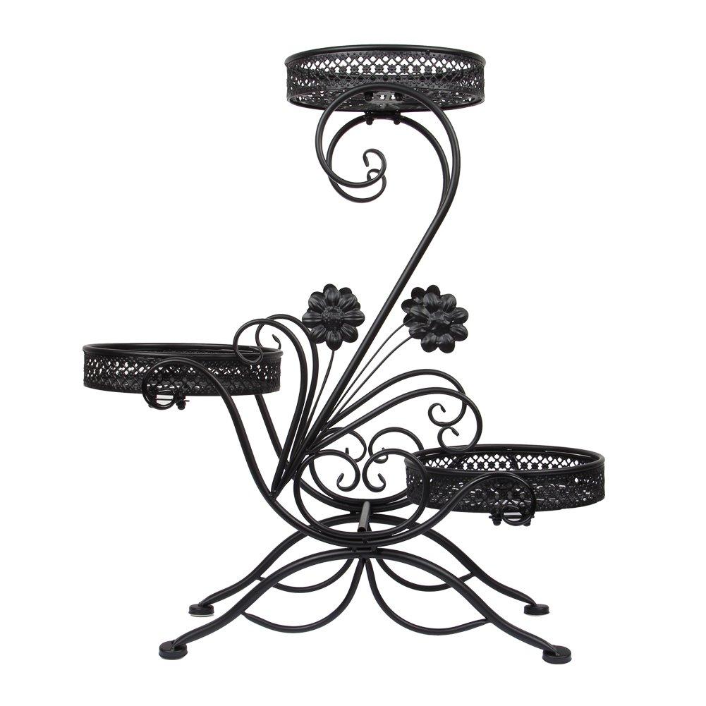 Dazone/® 3-Tiered Scroll Decorative Metal Garden Patio Standing Plant Flower Pot Rack Display Shelf Holds 3-Flower Pot Black