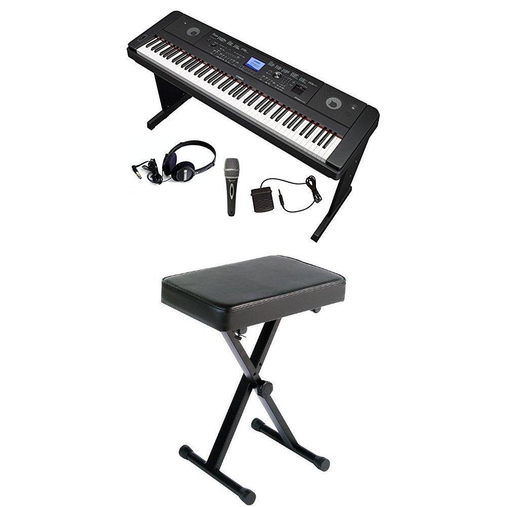 Yamaha DGX660 Digital Piano Microphone and Headphone Bundle with Yamaha Bench and Pedal by YAMAHA