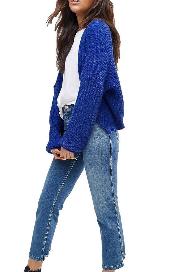 Asos Mujer Ex Azul mullido Canalé Cardigan Abierto Al Frente Tallas 6-20 - Azul, 16: Amazon.es: Ropa y accesorios