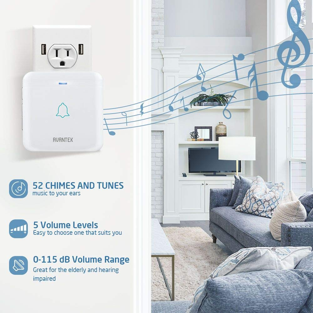 CD Quality Sound and LED Flash 52 Melodies AVANTEK DW-12 Waterproof Wireless Doorbell Operating at Over 1300 Feet 1 Remote Button // Transmitter and 2 Plug-in Receivers with Different Tones