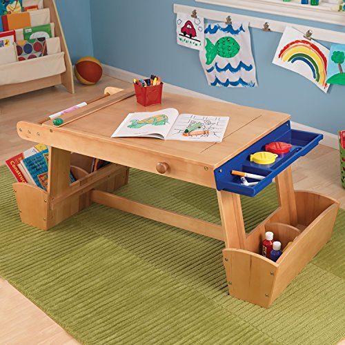 Kids Arts Crafts Table- Solid Wood Work Bench Station For Toddlers, Children & Creative Artistic Minds- Beautifully Crafted Includes: Adequate Storage Drawers, Paint Cups Lids Drying Racks Paper Roll