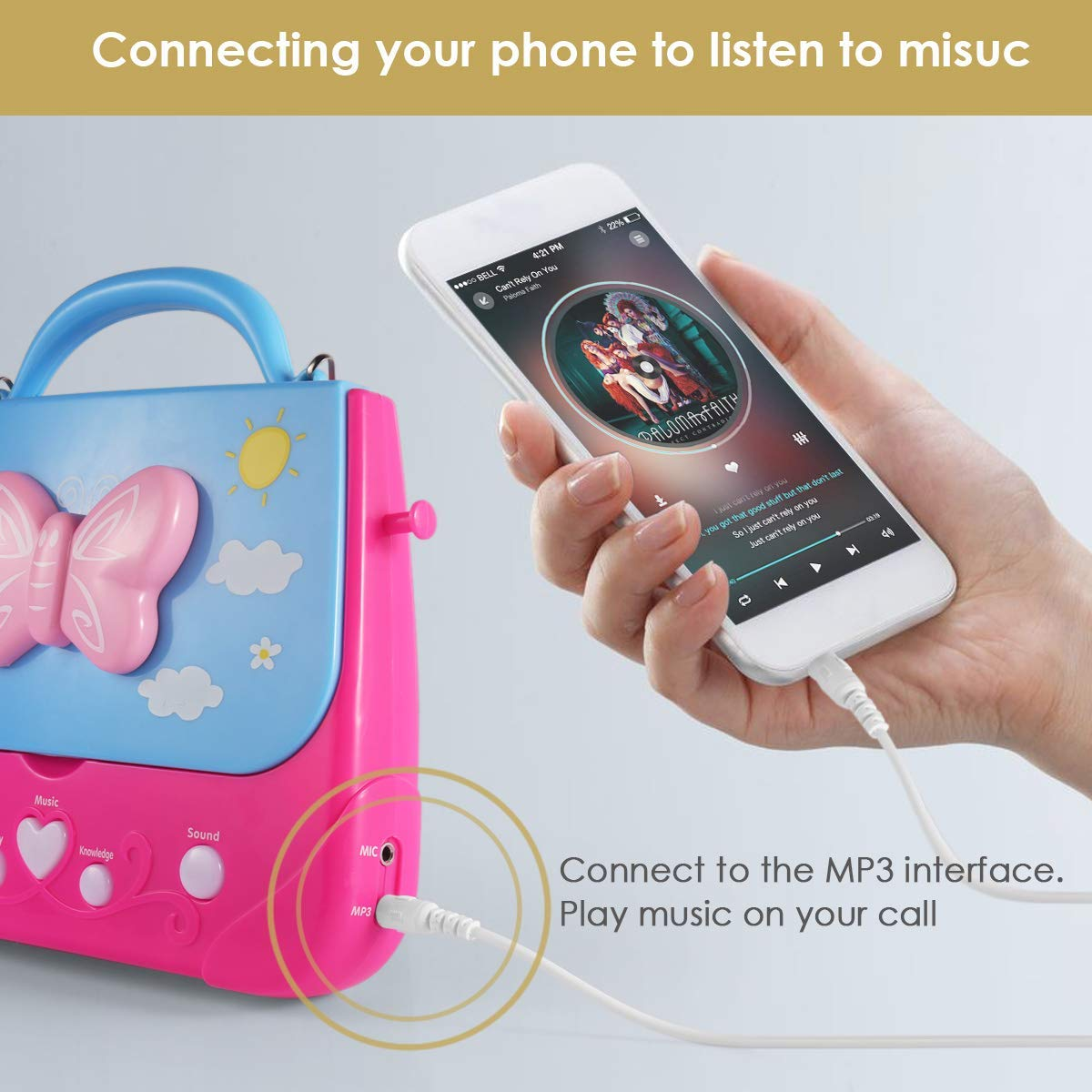 Car Guardiance Kids Karaoke Machine, Girls Karaoke Machine Toys Music Player with Microphone and Lights, Battery Operated Portable Singing Machine with Adorable Sing-Along Boom Box for Girls by Car Guardiance (Image #4)
