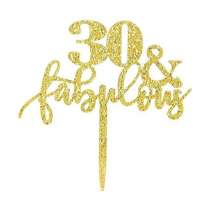 amazon com 30 fabulous cake topper glitter gold 30th birthday rh amazon com
