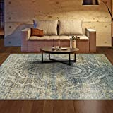 Superior Area Rug 9′ x 12′ 10mm Pile Height with Jute Backing, Woven Fashionable and Affordable Salford Collection, Blue-Beige For Sale