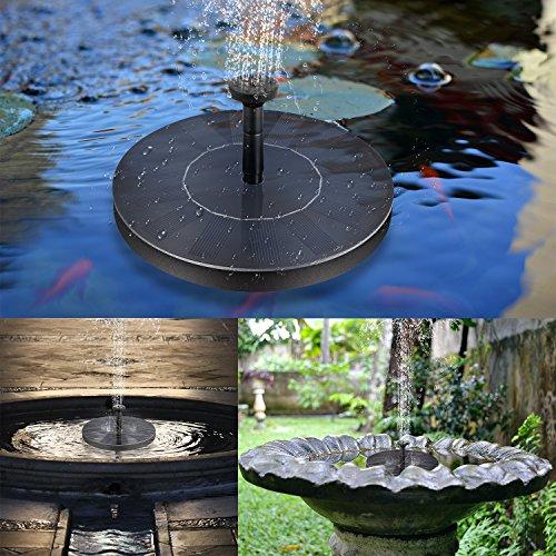 BHY Solar Fountain Pump, 1.5W Solar Powered Bird Bath Water Fountain Panel Birdbath Floating Outdoor Fountain Kit Garden Fish Tank, Pond, Pool, Water Cycling by BHY (Image #6)