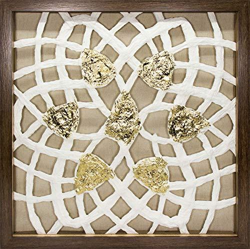 (45Min 16-Inch Handmade Paper Art Shadow Box, 3D Abstract Framed Sculpture Wall Art Decor, Contemporary, White/Gold, Petals Space)