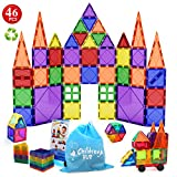 Children Hub 46pcs Magnetic Tiles Set - Building Construction Toys For Kids - Upgraded Version