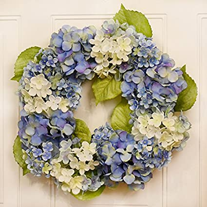 Amazon Com Soft Blue Hydrangea Spring Summer Door Wreath Wr4990