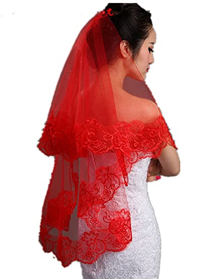 Red Short Wedding Dresses | Women S 1t Vintage Lace Appliqued Edge Wedding Bridal Veil Red Long