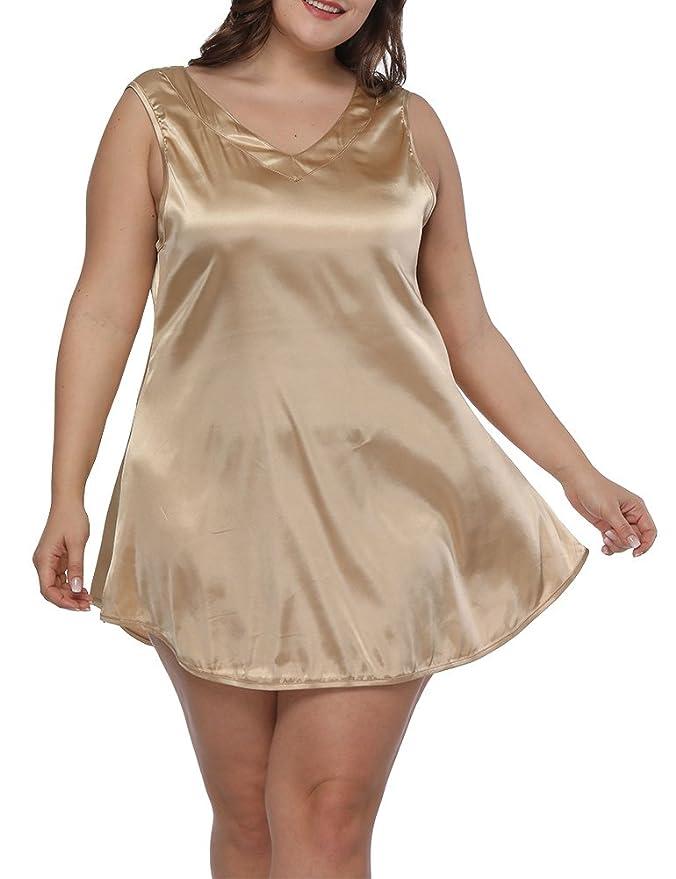 Women Plus Size Satin Sexy V Neck Pajama Loose Sleepwear Soft Sleepshirt