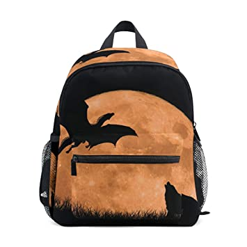 FANTAZIO Mochilas Niños Moon Dragon y Wolf Mochila Escolar Bookbag Daypack
