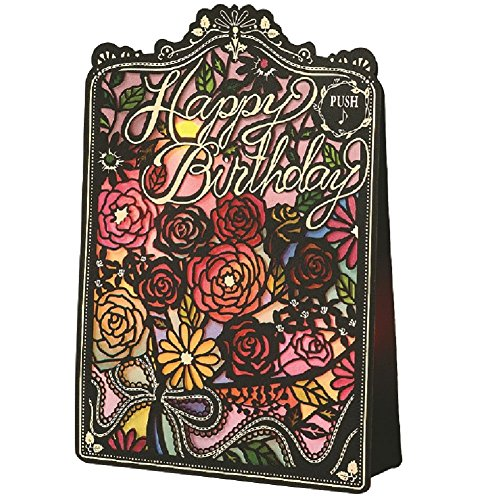 Birthday stained glass light with music card Flower B130-06 Gakken Sta:Ful ()