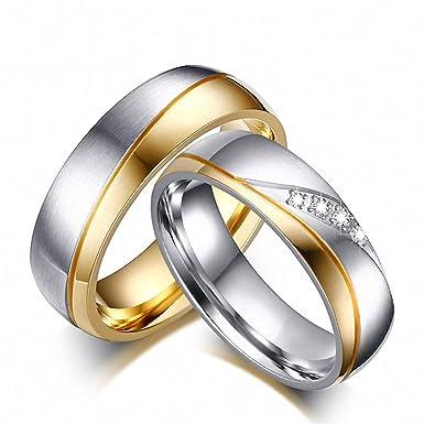 Amazon.com: Anillos de boda para amantes de la boda oro ...