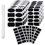 NEWKIBOU Etiquetas para pizarra,188 pegatinas de pizarra reutilizables de primera calidad con marcador de tiza blanca para co