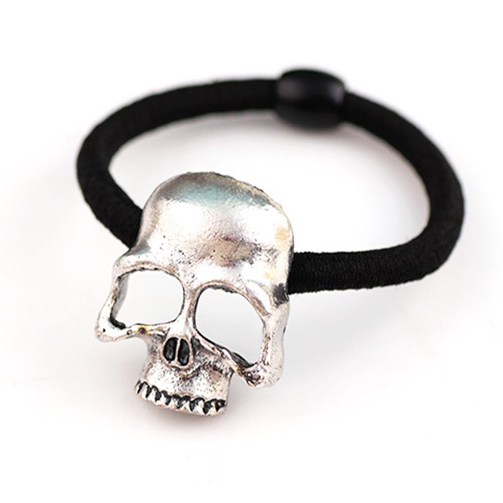 Women's Gril's Retro Punk Fashion Metallic 3D Skull HairBand Rope Tie Wrap Ponytail Holder Silver