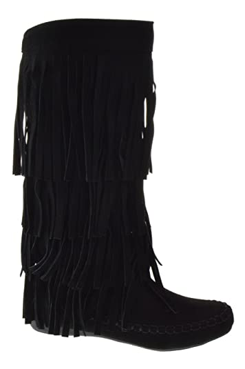 a3ad4810b122 AXNY Mudd 55 Womens 4 Layer Fringe Moccasin Mid-Calf Boots