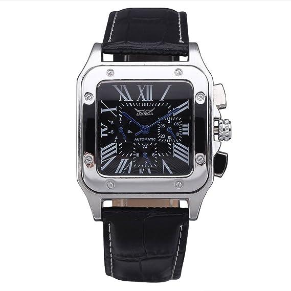 GuTe forma cuadrada hombres automático mecánico reloj de pulsera con esfera de color negro negro correa de piel: Amazon.es: Relojes
