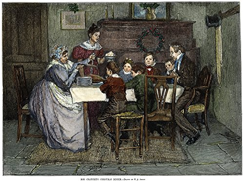 Dickens Christmas Carol 1843 Bob CratchitS Christmas Dinner Engraving After Edwin Austin Abbey For Charles Dickens A Christmas Carol C1880 Poster Print by (18 x 24) (Dickens Dinner Christmas)
