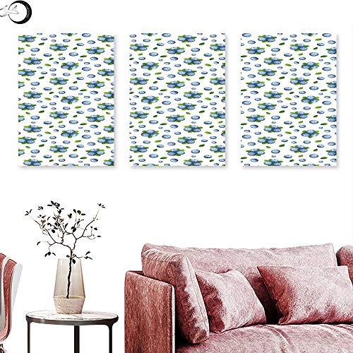 J Chief Sky Kitchen Wall Digitally Printed Fresh Blueberries Ripe Juicy Fruits Summer Organics Food Painting Style Triptych Wall Art Blue Green White Triptych Art Canvas W 12