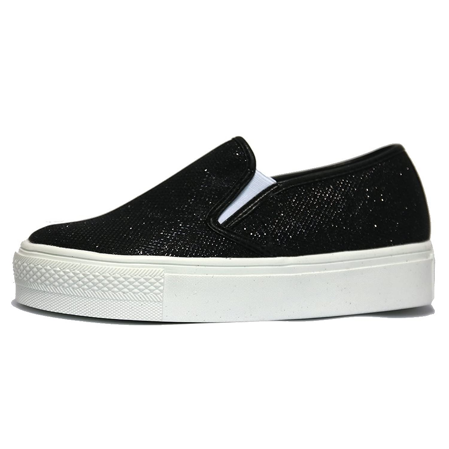 Womens Shiny Slip On Platform Sneakers