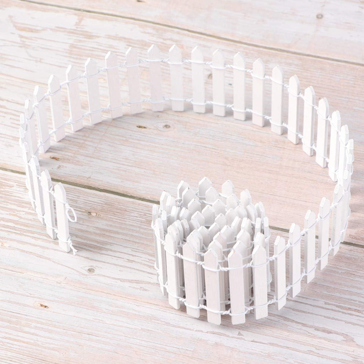 DOITOOL 100cm Miniature Fairy Garden Fence Wooden Dollhouse Decorative Picket Fence for DIY Crafts Project Terrarium Bonsai Miniature