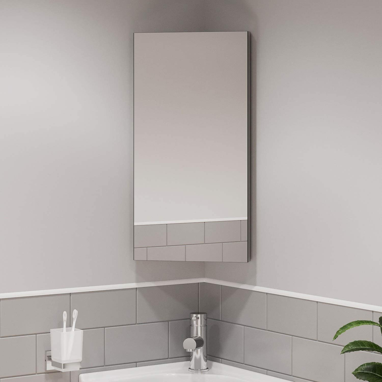 Artis Wall Mounted Single Mirror Door Corner Bathroom Cabinet Cupboard Stainless Steel Amazon Co Uk Kitchen Home