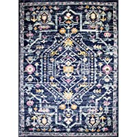 Oriental Rug Bohemian Farmhouse Distressed New Area Rug Carpet Size options available (7.4 x 10.6, style 509 navy)