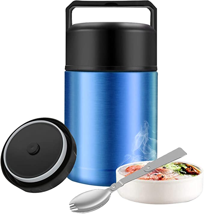 Amazon.com: Food Thermos, 27oz Wide Mouth Soup Thermos for Hot Food with Folding Spoon, Insulated Food Jar, Leak Proof Soup Thermos, Stainless Steel Vacuum Lunch Container Flask Bento Box for Kids Adult (Blue): Kitchen & Dining