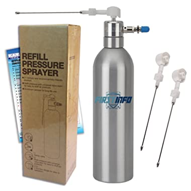 FIRSTINFO Aluminum Can Air/Pneumatic / Manual/Handy Refillable Pressure Sprayer with 2 pcs Extra Nozzles + instruction manual