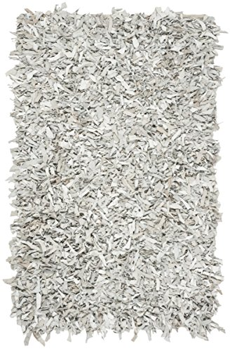 Safavieh Leather Shag Collection LSG601C Hand-Knotted Grey and White Decorative Area Rug (4' x 6')