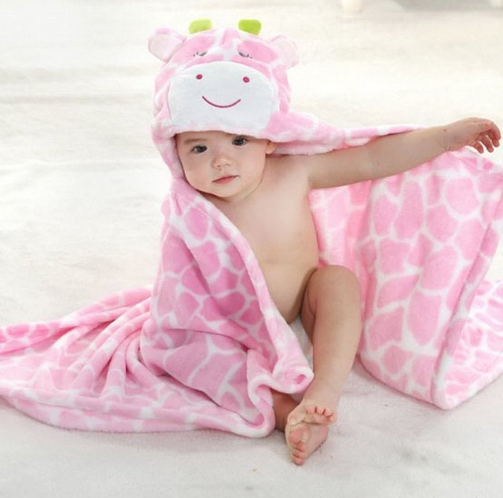 DINGANG® Kids Baby Bath Bathrobe Cute Giraffe Hooded Ultra-soft ...