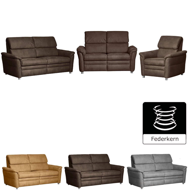 CAVADORE Sitzgruppe Chalsay / 3-Sitzer, 2-Sitzer und Sessel / mit Federkern / moderne Polstergruppe / Sofa 3-sitzig: 179 x 94 x 92; Sofa 2-sitzig: 145 x 94 x 92; Sessel: 90 x 94 x 92 / Braun