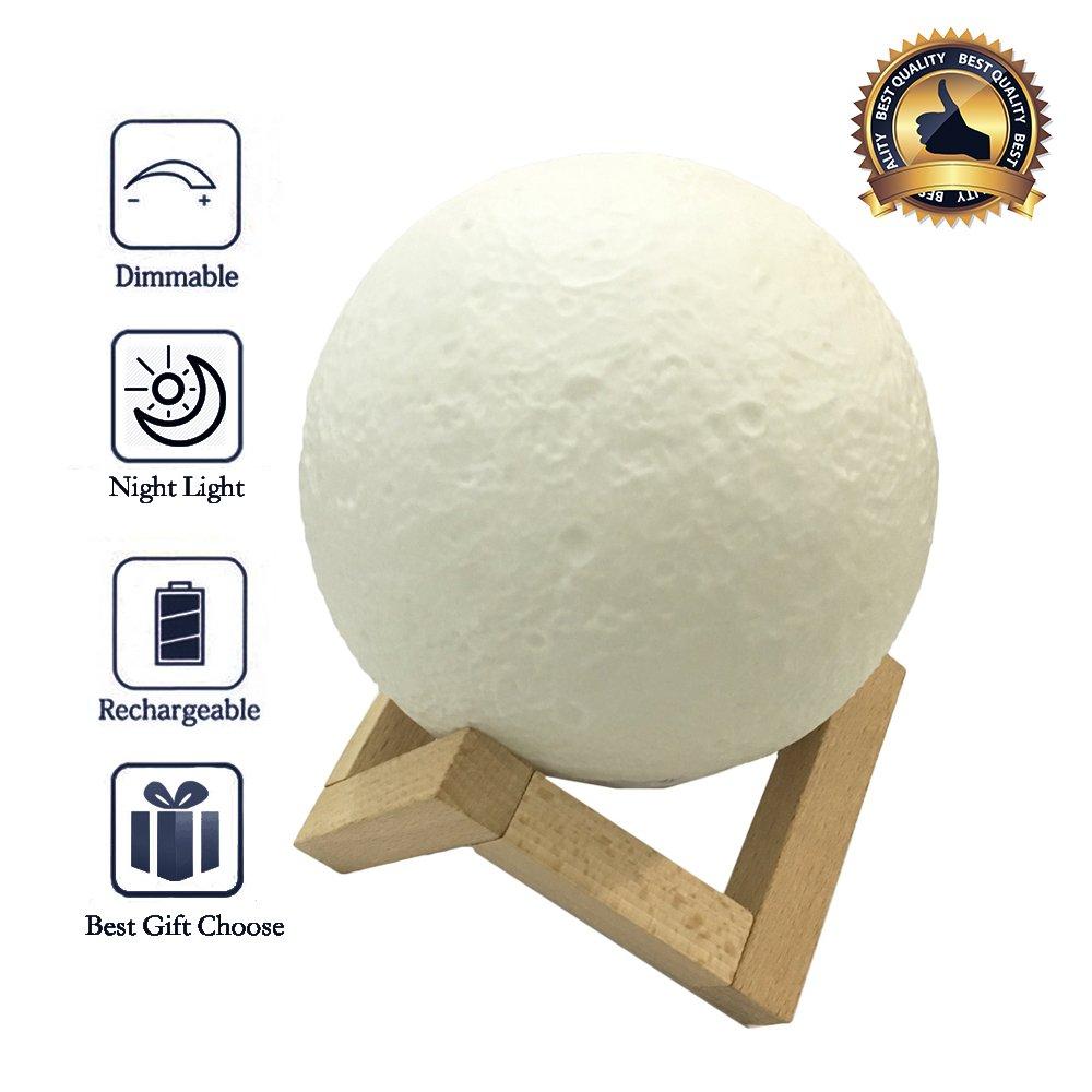 3D Printing Moon Lamp, Brightness Led Moon Lunar Light Bedroom Night Lamp Button Control 5.1 inch Diameter For Romantic Birthday Christmas Gift