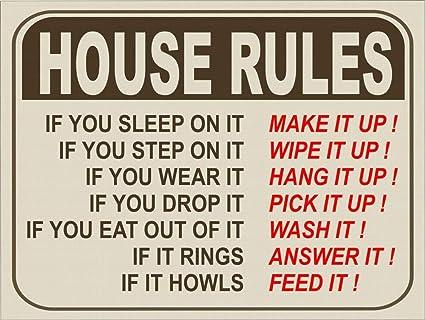 Amazon Com Pottelove Vintage Retro Style Funny House Rules Aluminum