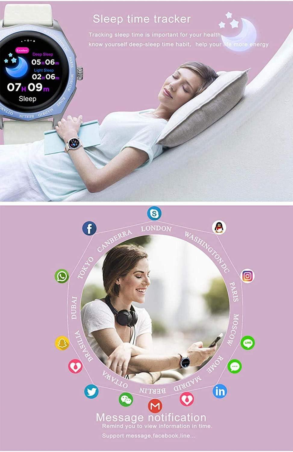NMQQ Intelligenti Orologi, la Signora 1,22 Pollici Monitor Touch Screen a Colori Cambiamento del Nastro della frequenza cardiaca Cerchio, SmartWatch rosa, bianco,