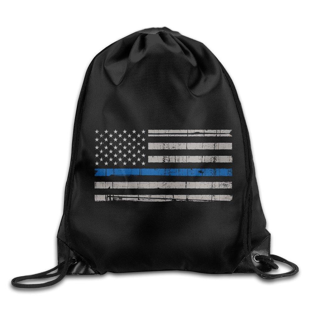 Maneg Thin Blue Line American FlagジムDrawstringバックパック&旅行バッグ B01HM8P5ES   One Size