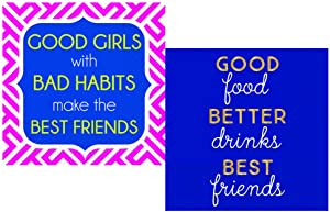 Funny Cocktail Napkins for Women Fun Ladies Night Variety Pack - Bundle Includes 36 Total Paper Napkins in 2 Best Girlfriends Designs