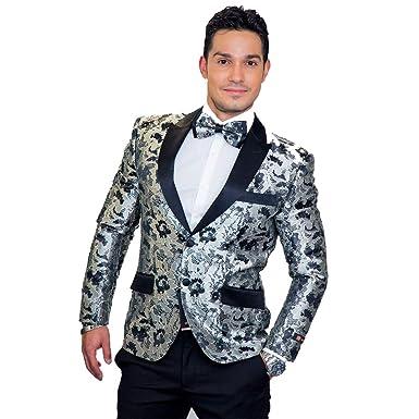 7e8c8f185b5c2 Silver Floral Brocade Tuxedo Jacket at Amazon Men's Clothing store: