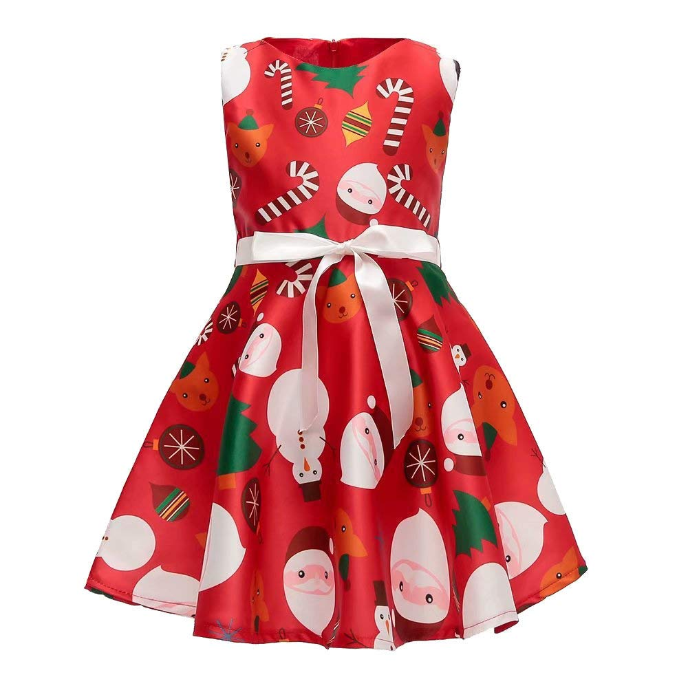 Muium Kids Baby Girls Christmas Cartoon Santa Print Princess Dress Sleeveless Skirts Fancy Party Costume Clothes for 1-7 Years Old