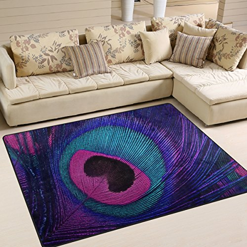 ALAZA Purple Beautiful Peacock Feather Abstract Area Rug Rugs for Living Room Bedroom 5'3 x 4'