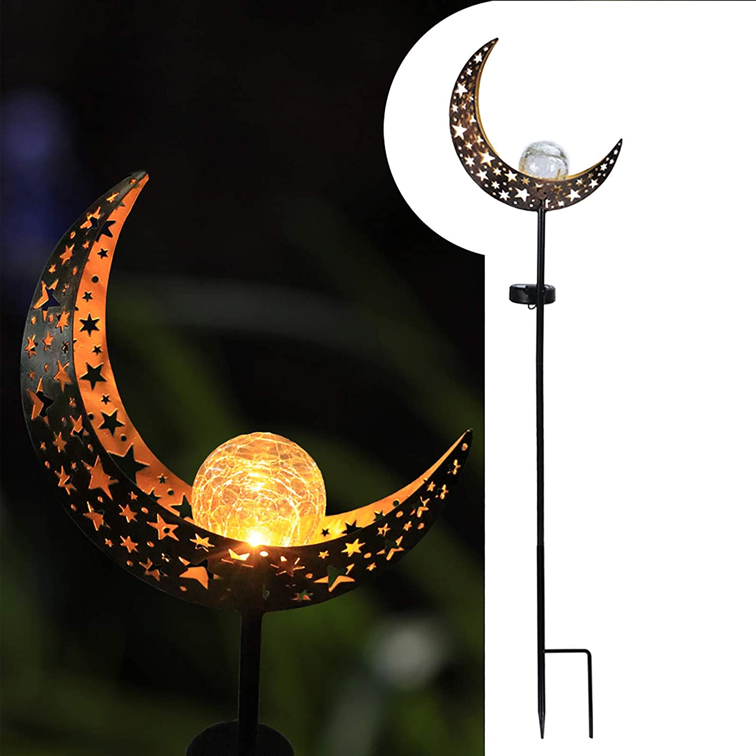 Decorative Solar Lights Outdoor Courtyard Lawn Patio Decoration Solar Globe Lights Moon Crackle Glass Ball Waterproof 1 Pack