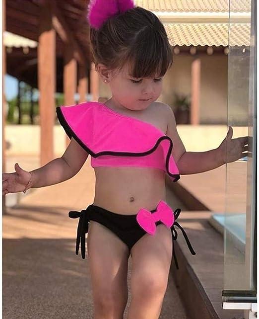 Toddler Kids Baby Girls Ruffle Stripe Bikini Summer Beach Swimsuit Swimwear AG