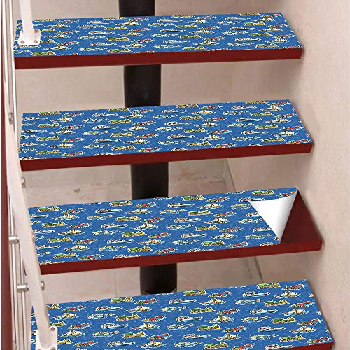 (3D Print Non-Slip PVC Stair Pads,Self-Adhesive Steps Sticker,Staircase Treads Protector,Cute Toys Pattern Train Sail Boat Airplane Children Baby Playroom Art Design,for Home Decoration(9.8X39 inch) Se)
